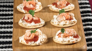 Seafood Cocktail on a Cracker