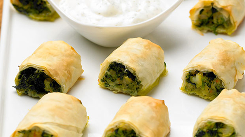 Shrimp and Spinach Phyllo Rolls
