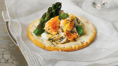 Smoked Salmon & Asparagus on Crackers