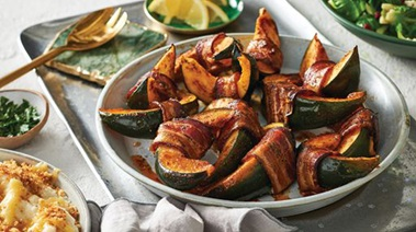 Smoky Bacon-Wrapped Acorn Squash