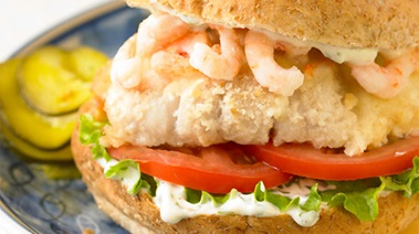 Snapper Burgers with Shrimp and Basil Mayo