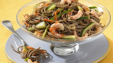 Teriyaki Soba Noodle Salad with Shrimp and Cucumber