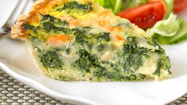 Three Cheese Quiche with Spinach and Shrimp
