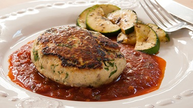 Turkey and Kale Patties with Tomato Basil Sauce