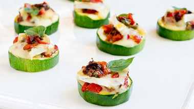 Zucchini Rounds with Brie and Roasted Pepper Relish
